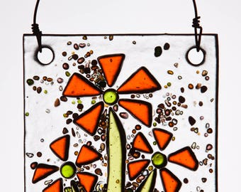 Fanciful Orange Flowers in Fused Glass.  The Perfect Fresh Ornament!