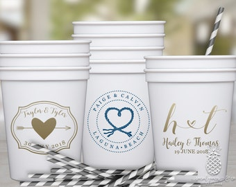 Plastic Wedding Favor Cups • Custom Printed Stadium Cups • Monogrammed Plastic Cups • Personalized Event Cups •  Monogram Party Cups