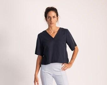 Crop Top T Shirt, Blue Crop Top, V Neck T Shirt, Hipster Clothing, Short Sleeve Shirt, V Neck Shirt, Blue Blouse, Womens T Shirts