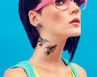 Temporary tattoo hummingbird / temporary tattoo flower / temporary tattoo bird / bohemian jewelry - NO. B01