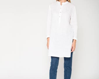 White Linen Mandarin Collar Tunic / Loose Fit Tunic / Loose Fit Linen Top / White Linen Top With Side Slits / Mandarin Collar Top