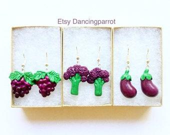 3 Handmade earrings jewelry set vegetable earring fruit jewelry eggplant earrings grape earrings purple broccoli earrings gift for women