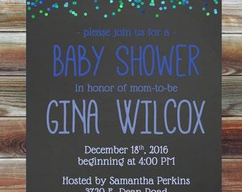 Blue Green Confetti Baby Shower Invitation - Personalized Custom Boy Baby Shower Invitation - Blue Ombre Confetti Baby Shower Invite