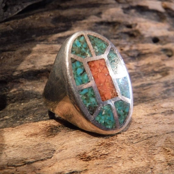 Vintage Large Mens Ring Navajo Native American Sterling Silver Heavy 18.8 Grams Size 10.5 Mens Silver Navajo Turquoise Coral Ring Mens Ring