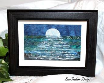 Fabric Postcard/Card, Mini Art Quilt, Unframed, Greeting Card, Textile Art, Wall Hanging, Greeting Card, Gift, Fiber Art, Moonlight/Ocean
