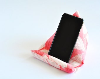 Fabric Phone Stand, Phone Holder, Phone Pillow, iPhone Stand, iPhone Holder, Mobile Phone Stand - Dark Pink Leaves