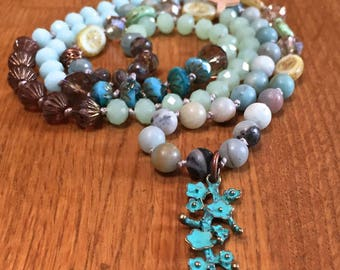 Long hand knotted boho necklace, bohemian style gemstone necklace, faceted crystal and Amazonite, hippie/flower bohemian knotted necklace