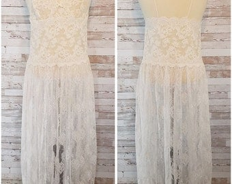 White lace 90s see through negligee with spaghetti straps - plus