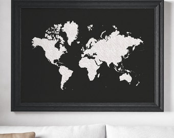 World Map Poster. Black White Large World Map. Affiche Scandinave. Travel Décor. Bohemian Wall Décor. Map of the World. Extra Large Map.