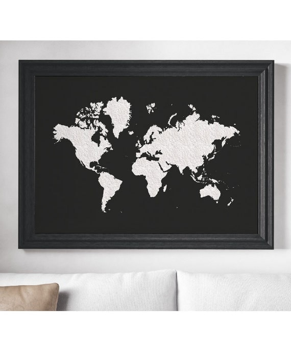 World map poster black white large world map affiche like this item gumiabroncs Choice Image