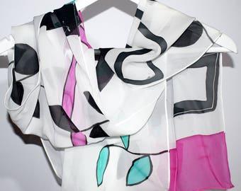 Chiffon silk scarf,Handpainted silk scarf,Hand painted scarf,Made to order scarf,Black and white silk scarf,AnaSilkDesign