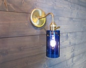 Large Blue Cylinder Vodka Bottle Wall Sconce - Upcycled Industrial Glass Wall Mount Light