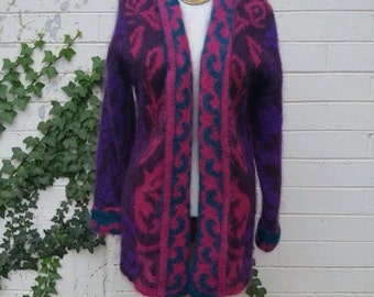 1980's Long Mohair Sweater Jacket, SM/MED