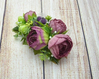 Purple flower comb/ Plum hair comb/ Flower accessories/ Purple wedding comb/ Bridal comb/ Floral comb/ Decorative comb/ Bridal hair comb