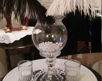 Gatsby Black and White Ostrich Feather Centerpiece