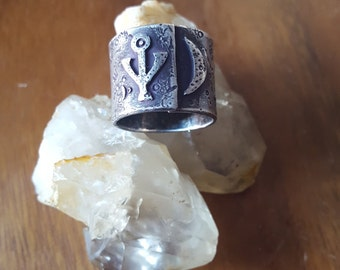 handmade sterling crescent moon and silver alchemy ring