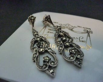 "Vintage marcasite and sterling silver earrings - 925 - Nouveau style - 1.6"" drop"