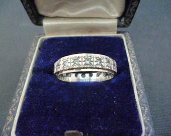 A beautiful sparkly Vintage CZ, silver and gold ring - 925 - sterling silver - UK K - US 5.25