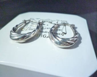 "Pure vintage! silver hoop earrings - 925 - sterling silver - 1"" x 0.6"""