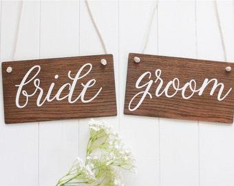 Bride & Groom Sign, Rustic Wooden Wedding Signs, Wedding Chair Signs. Wedding Decor, Boho Wedding, Photo Prop Signs, Bridal Gift.