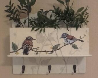 Birds Handpainted on Hook Rack with Storage Box