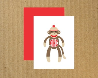 Sock Monkey Note Cards, Set of 10, Monogram Sock Monkey Note Cards, Monogram Note Cards, Sock Monkey, Thank You Cards, Baby Thank You Cards