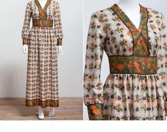 60's Toni Todd Hippie Bohemian Maxi Dress • Empire Waist Hostess Dress • Festival Dress • Hippie • Mod Dress