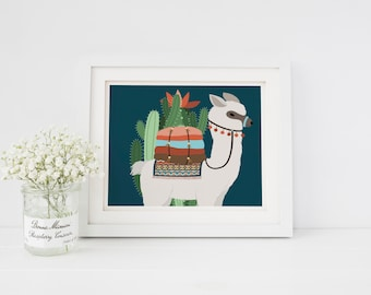 Nursery Girl Decor Nursery Boy Nursery Decor Llama Art Print Llama cactus Alpaca cactus Alpaca Art Print Nursery Art Print Blue llama