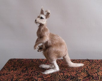 Vintage Miniature Taxidermy Kangaroo with Baby Joey Zoo Toy Souvenir with Green Glass Eyes and Real Fur Hide Standing 5.5 Inches Tall ~ 7881