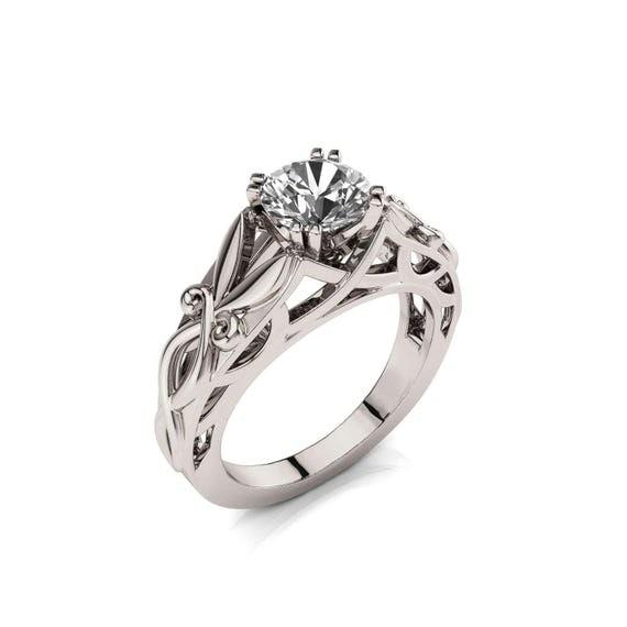 Celtic Engagement Ring Art Deco Engagement Ring 1ct