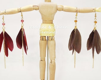 Feather & Chain Dangle Drop Earrings
