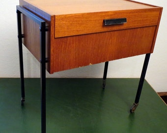 60s Vintage Sewing Trolley, Sewing Box, Sewing Table
