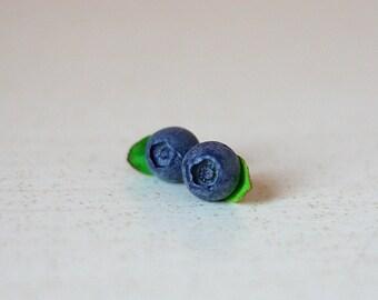 Blueberry earrings - Sterling silver 925 - Handmade earrings - Stud earrings - Berry earrings - Polymer clay