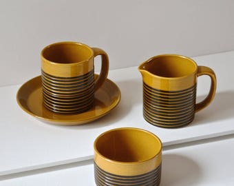 TG Green cup and saucer set of 4. sark honey black range. vintage tea and coffee set