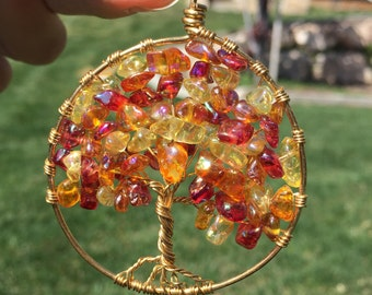 Tree of Life Necklace with Pendant- Autumn leaves