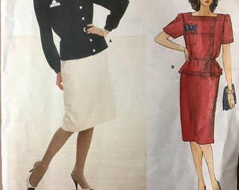 Vogue 1330 - 1980s American Designer Adele Simpson Asymmetrical Top with Square Neckline and Straight Skirt - Size 12 Bust 34