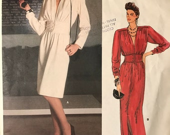 Vogue 1490 - 1980s Paris Original Yves Saint Laurent Dress with Shaped Midriff in Knee or Maxi Length - Size 12 Bust 34