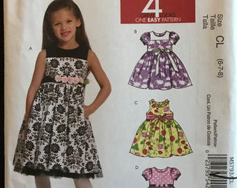 McCalls M5793 - Little Girls Dress with Raised Waist and Flared Skirt - Size 6 7 8