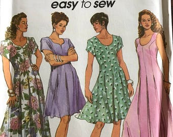 Simplicity 8292 - Easy to Sew Fitted and Flared Dress with Scoop or Sweetheart Neckline - Size 12 14 16