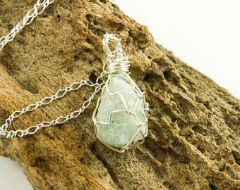 Raw Aquamarine - Rough Aquamarine - Aquamarine Necklace - March Birthstone - Aquamarine Stone - Aquamarine Pendant - Aquamarine Crystal