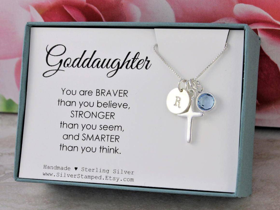 Gift For Goddaughter Birthstone Necklace Sterling By: Easter Gift For Goddaughter Gift Necklace Sterling Silver