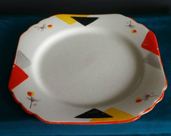 Art deco cake plate, orange design , vintage china plate