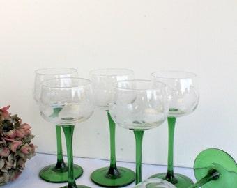 Retro Set of 6 Green Stemmed Cut Glass Wine Glasses