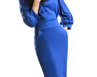 Cobalt blue dress Occasion dress to the knee Elegant royal blue dress Spring dress Autumn dress for women Business woman evening dress