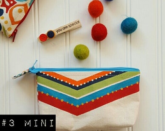 Mini hand painted chevron and floral zip pouch