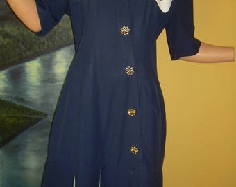"""Joseph Ribkoff Canada bottom flap DRESS Navy blue + white. Older Sz. 8 on tag. 1970's. False button front. Hardly worn. """"As Found"""" Bargain!"""