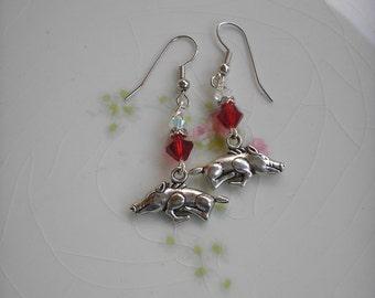 New!  Razorback earrings with Swarovski crystals, Birthday, Chrstmas, WPS. Go Hogs!