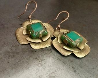 Lucky Irish green earrings, riveted golden brass St. Patrick's clovers, hammered earrings