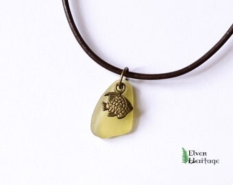 Yellow/honey sea glass necklace