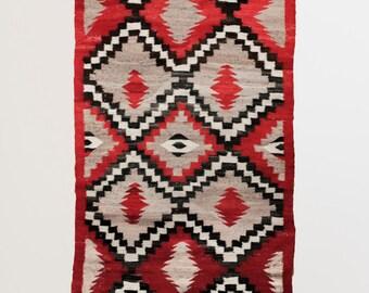 Vintage Navajo Rug / Native American Wall Hanging - 1930's - 1940's Ganado